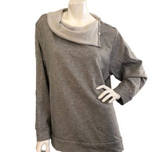 Michael Kors Button Cowl Neck Sweatshirt Grey 2X